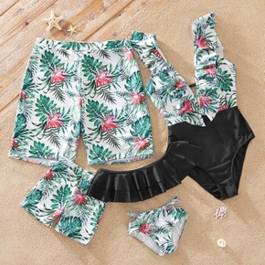 Floral and Leaf Print Matching Swimsuits