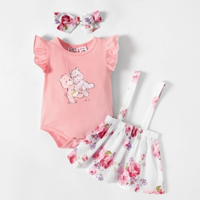 Care Bears Baby Girl 3-piece Floral Dress and Flutter-sleeve Romper with Headband Set