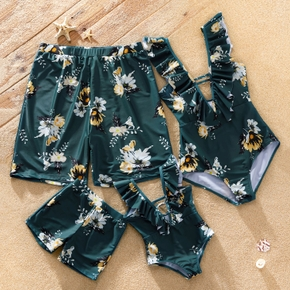 Family Look Floral Print Ruffle Deep V One-piece Matching Swimsuits