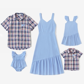 Mosaic 100%Cotton Family Matching Casual Sets(Solid Tank Dresses - Plaid Plaid Short Sleeve Shirts - Rompers)