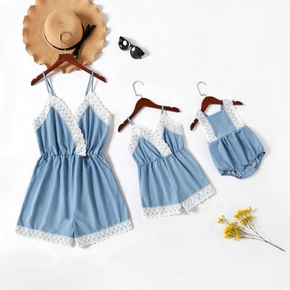 Solid Blue Stitching White Lace Sides Matching Sling Shorts Rompers