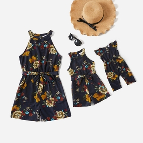 Floral Print Sleeveless Matching Navy Shorts Rompers