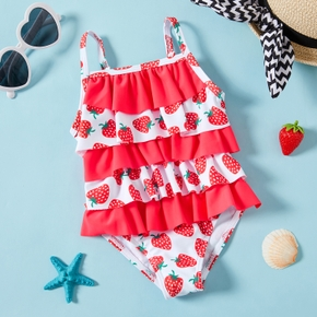1pc Strawberry Print Polyester&Nylon Summer More Festivals Swimwear Swimsuit
