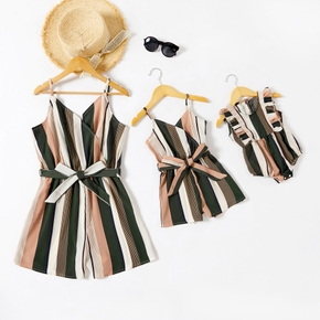 Colorful Vertical Stripe Matching Sling Shorts Rompers