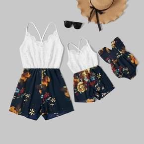 Mommy and Me Lace Stitching Floral Print Sling Rompers