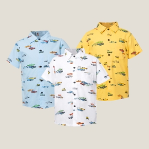 Kids Boy Car Allover Polo Shirt Tee