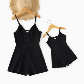 Solid Black Matching Sling Shorts Rompers