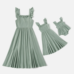 Mosaic 100% Cotton Solid Color Flutter-sleeve Matching Green Midi Dresses
