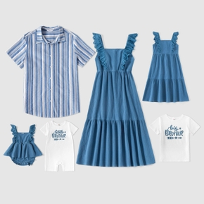Mosaic Family Matching Blue Series Cotton Sets(Tank Dresses - Plaid Button Front Shirts - Rompers)