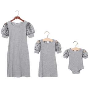 Polka Dot Puff Sleeve Matching Solid Grey Mini Dresses