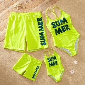 Summer Letter Print Family Matching Swimsuits