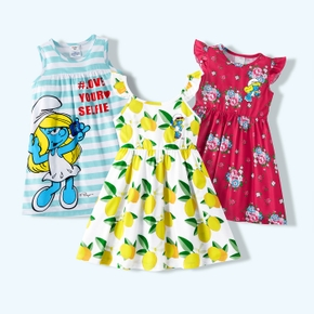 Smurfs Toddler Girl Floral Stripe and Lemon Dress