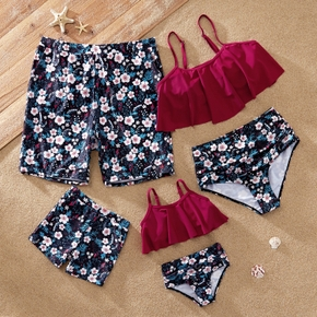 Floral Print Strappy Ruffled Family Matching Swimsuits