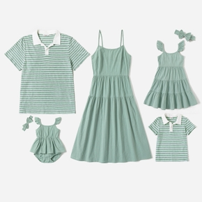 Mosaic Solid and Stripe Family Matching Green Sets