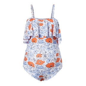 Flounce Highwaist Floral Print Maternity Swimsuit