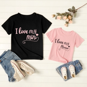Love Letter Print Cotton T-shirts for Mom and Me