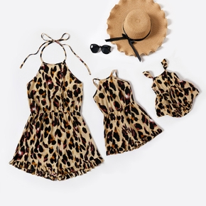 Leopard Ruffle Cuff Matching Shorts Rompers