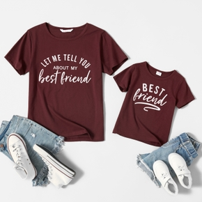 Letter Print Cotton T-shirts for Mom and Me