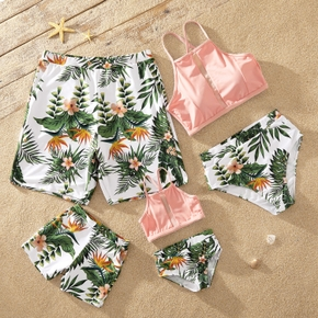 Leaf Print Family Matching Swimsuits