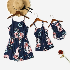 Dark Blue Floral Print Matching 100% Cotton Sling Rompers(Tank Style Tassel Design for Baby Rompers)
