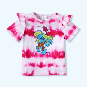 Smurfs Toddler Girl Flounced Tie-Dye Tee