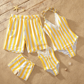 Yellow and White Stripe Series Family Matching Swimsuits
