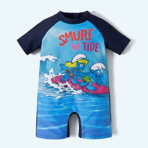 Smurfs Toddler Boy Surf The Tide Rash Guard Swimsuit