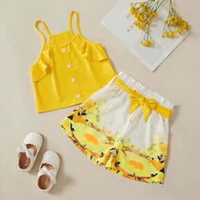 2pcs Kid Girl Sling Top Floral Shorts Suit Vacation Suits