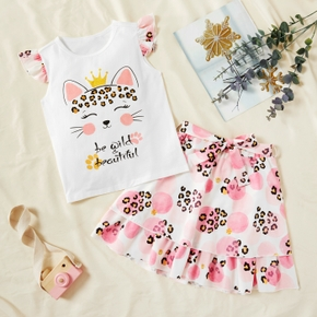 Beautiful Kid Girl 2-piece Leopard Crown Cat Ruffled Skirt Set