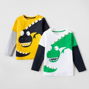 Colorblock Dinosaur Print Long-sleeve Tee For Boys