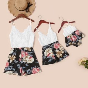 Lace Stitching Floral Print Matching Sling Shorts Rompers