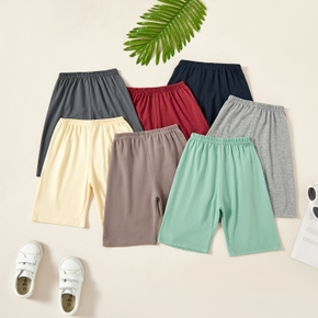 Kids Boy Solid All-cotton Multicolor Elasticized shorts