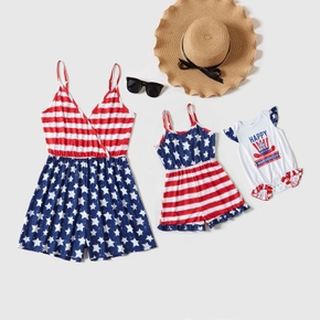 Independence Day Stripe and Star Matching Sling Shorts Rompers