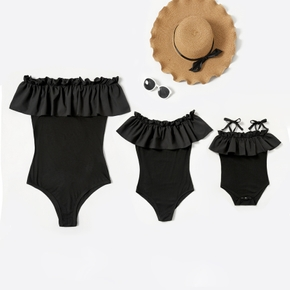 Solid Black Ruffle Off-shoulder Matching Rompers