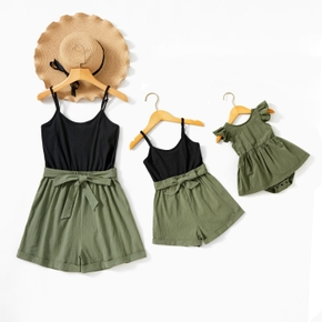 Black and Green Solid Splice Print Sling Rompers(Ruffle Tank Romper for Baby Girl)