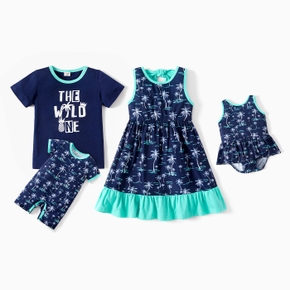 Mosaic Coconut Tree Print Matching Sets for Siblings