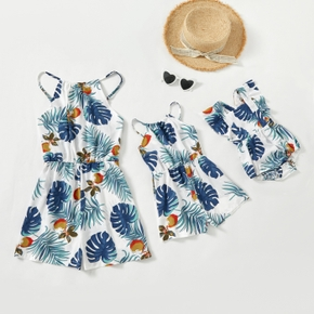 Mommy and Me Leaf Print Matching Rompers