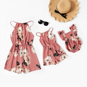 Floral Print Light Pink Matching Suspender Rompers