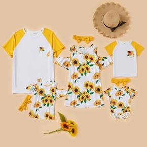 Sunflower Pattern Short Sleeve Family Matching Tops