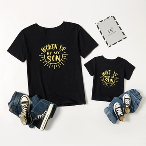 Letter Print Black Cotton T-shirts for Dad and Me