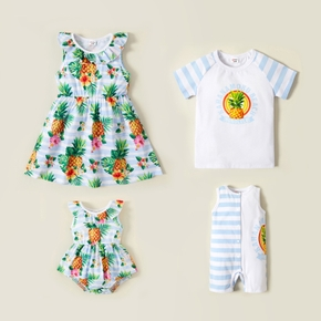 Mosaic Pineapple Pattern Short-sleeve Siblings Matching Sets