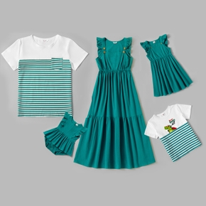 Mosaic 100% Cotton Family Matching Green and White Sets