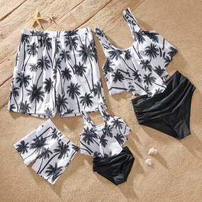 Coconut Tree Print Family Matching Swimsuits