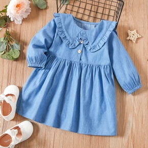 Baby / Toddler Casual Solid Flounced Collar Dress