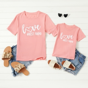 Love Letter Print Pink T-shirts for Mom and Me