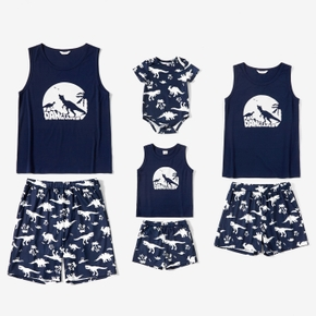 Family Dinosaur Print Tank Top and Shorts Matching Pajamas Set(Flame Resistant)