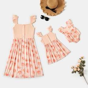 Fruit Print Ruffle-sleeve Dresses for Mommy and Me