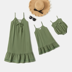 Solid Green V-neck 100% Cotton Sling Dresses for Mommy and Me
