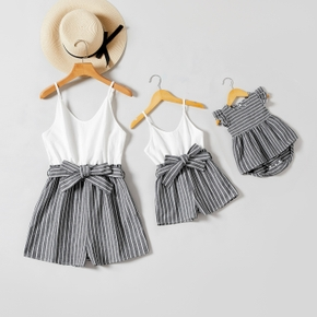 100%Cotton Stripe Splice White Sling Short Rompers for Mommy and Me