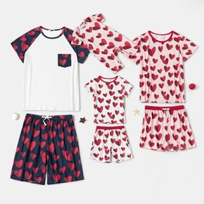 Family Matching Heart Pattern Print Round Neck Raglan Short Sleeve T-shirt shorts Pajamas Set(Flame Resistant)